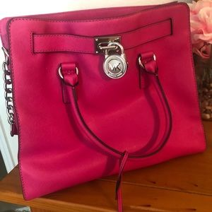 Large Hot Pink Michael Kors Satchel